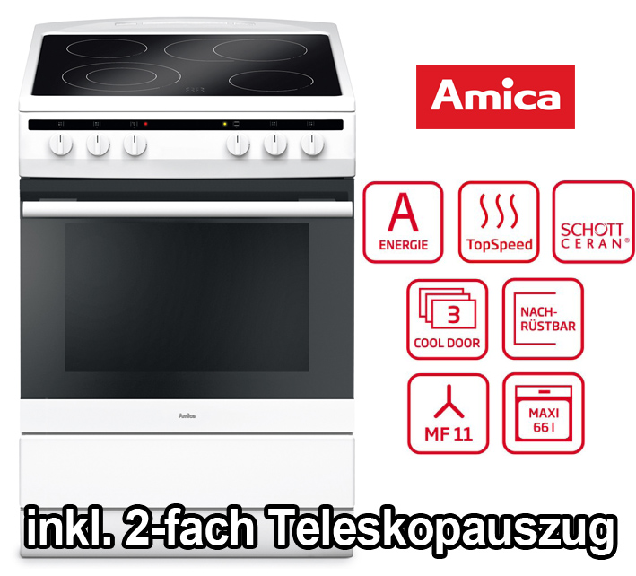 amica elektro standherd 60cm hei luft backofen schott glaskeramik kochfeld grill ebay. Black Bedroom Furniture Sets. Home Design Ideas