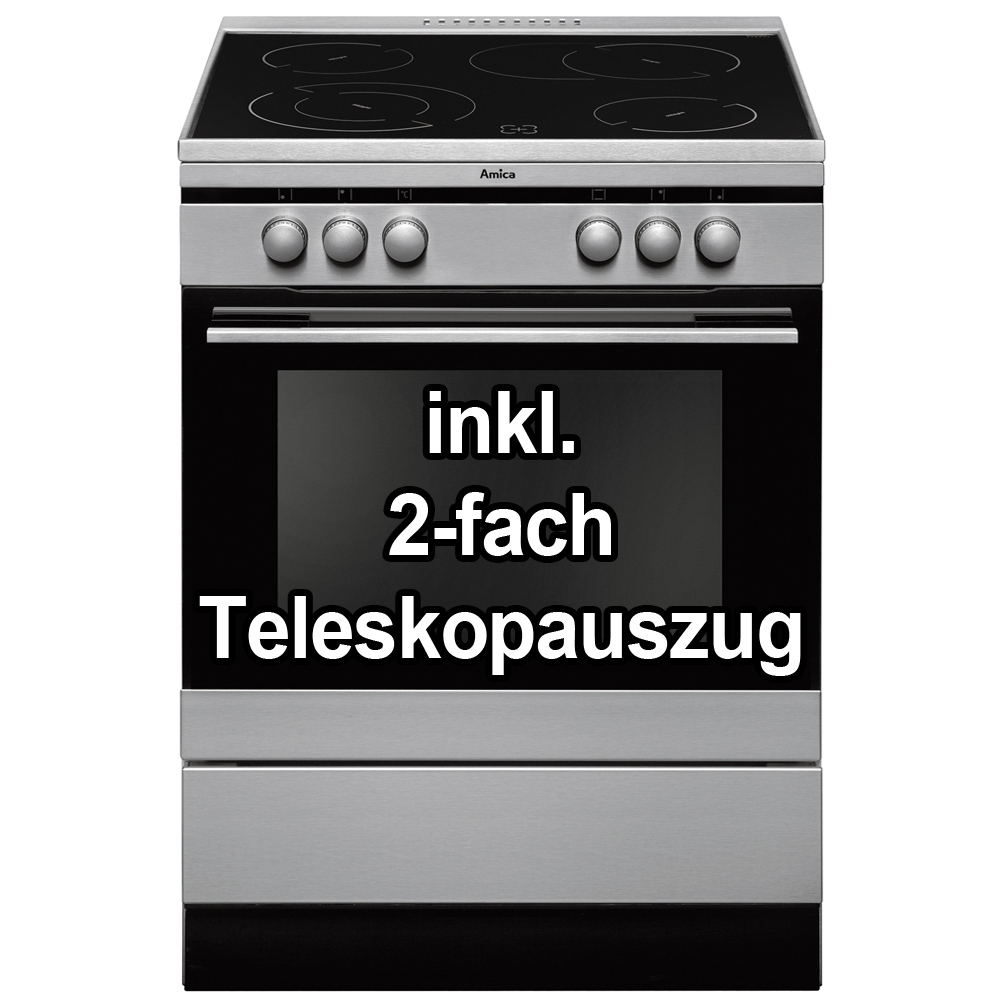 amica elektro standherd edelstahl 60cm hei luft backofen schott ceran kochfeld ebay. Black Bedroom Furniture Sets. Home Design Ideas