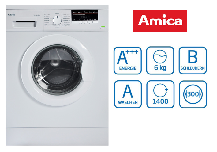 amica 6 kg frontlader waschmaschine eek a mengenautomatik display 1400 u min ebay. Black Bedroom Furniture Sets. Home Design Ideas