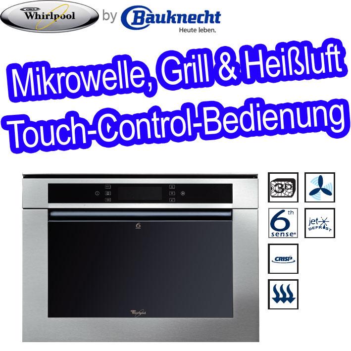 whirlpool amw 848 ix einbau mikrowelle mikrowellenherd grill edelstahl bauknecht ebay. Black Bedroom Furniture Sets. Home Design Ideas