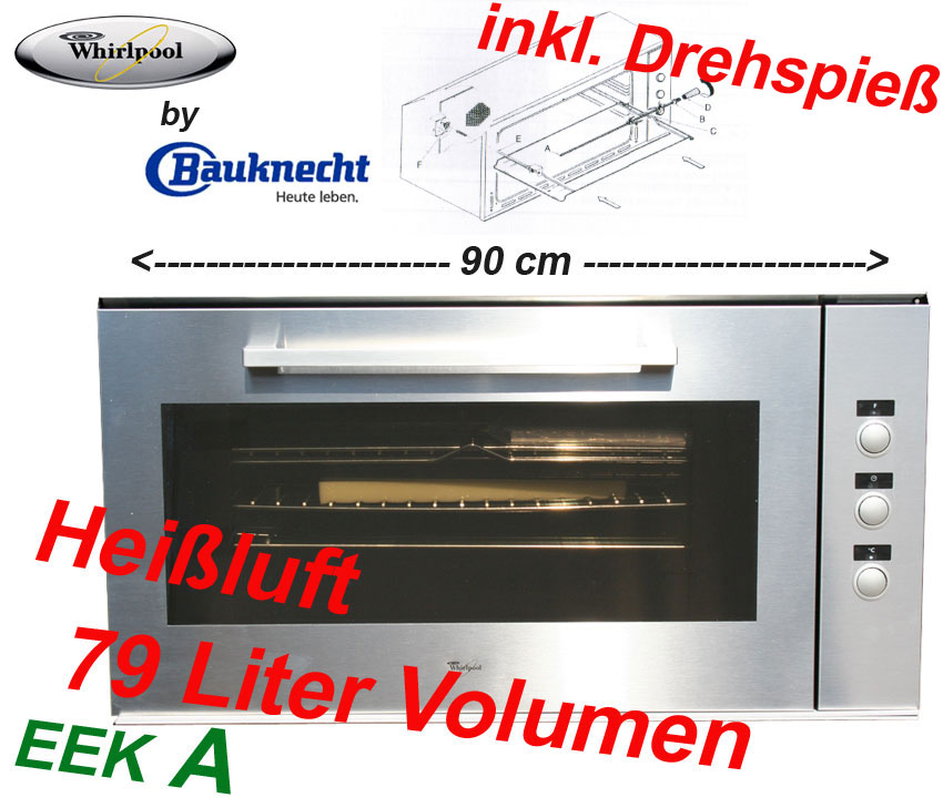whirlpool bauknecht akg 659 backofen 90 cm edelstahl ebay. Black Bedroom Furniture Sets. Home Design Ideas