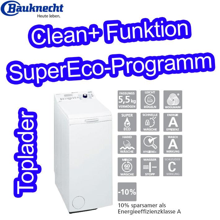 bauknecht wat pure 30 fld toplader waschmaschine 5 5 kg eek a supereco programm. Black Bedroom Furniture Sets. Home Design Ideas