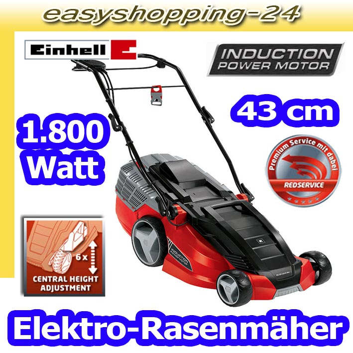 einhell rg em 1843 hw elektro rasenm her 1800 watt m her 63 liter fangsack ebay. Black Bedroom Furniture Sets. Home Design Ideas
