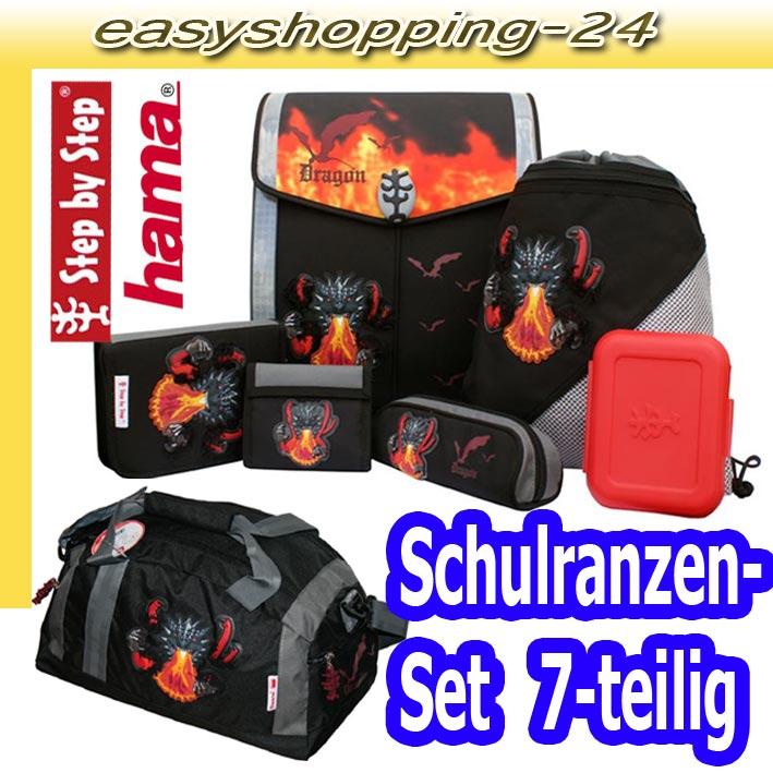 hama step by step schulranzen set sporttasche fire dragon. Black Bedroom Furniture Sets. Home Design Ideas