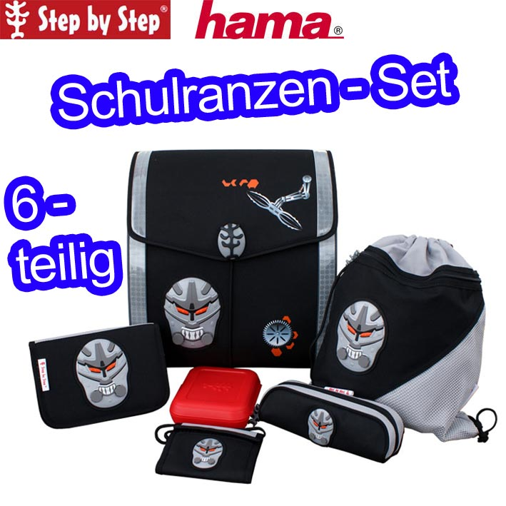hama step by step schulranzen set ranzen robo schul. Black Bedroom Furniture Sets. Home Design Ideas