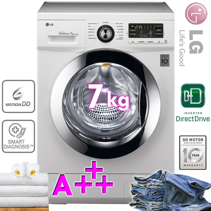 lg 7 kg xl frontlader waschmaschine a display 1400 u min aqua control wei ebay. Black Bedroom Furniture Sets. Home Design Ideas