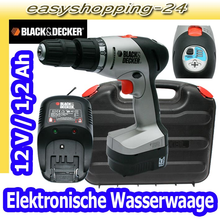 black und decker hp 122 k akku schlagbohrschrauber bohrmaschine akkuschrauber ebay. Black Bedroom Furniture Sets. Home Design Ideas
