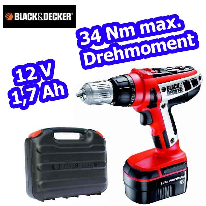 black und decker hp 126 f3k akku bohrschrauber akkuschrauber 12 v bohrmaschine ebay. Black Bedroom Furniture Sets. Home Design Ideas