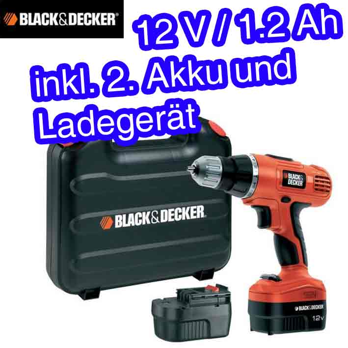 black decker epc 126 bk akku bohrschrauber akku schrauber 2 x akku ebay. Black Bedroom Furniture Sets. Home Design Ideas