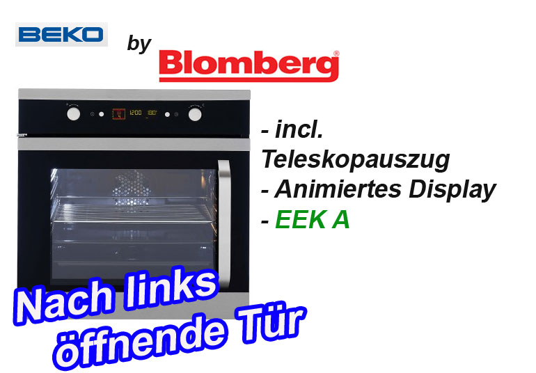 beko blomberg oim 25500 xl edelstahl einbau backofen seitent r links heissluft ebay. Black Bedroom Furniture Sets. Home Design Ideas