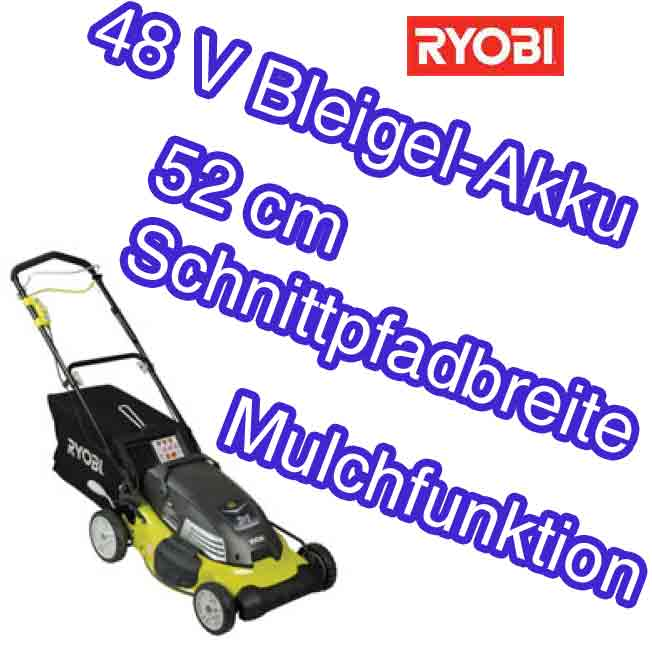 ryobi rlm4852l akku rasenm her 52 cm radantrieb 48v mulchen seitenauswurf ebay. Black Bedroom Furniture Sets. Home Design Ideas