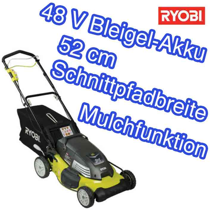 ryobi rlm 4852 l akku rasenm her 52 cm radantrieb 48v mulchen seitenauswurf ebay. Black Bedroom Furniture Sets. Home Design Ideas